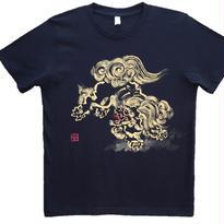 【手描きTシャツ】とび獅子 黒 コットン生地