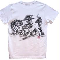 【手描きTシャツ】に獅子 白 コットン生地