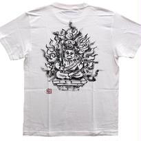 【手描きTシャツ】不動明王オリジナル  白  綿生地