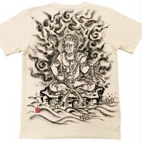 【手描きTシャツ】不動明王座像 クリーム  麻生地