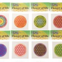 フラワーオブライフ ステッカー小 全8種 8枚セット (虹・オレンジ・黄色・紫・青・赤・藍・緑)