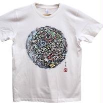 【手描きTシャツ】龍4 白 彩色 コットン生地