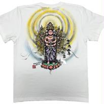 【手描きTシャツ】十一面千手観音  白  彩色 綿生地