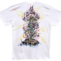 【手描きTシャツ】倶利伽羅不動  白  彩色 綿生地