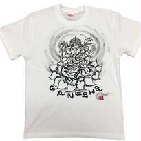 【手描きTシャツ】ガネーシャ イラスト前面  白  綿生地