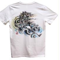 【手描きTシャツ】龍3 白 彩色 コットン生地