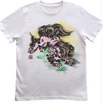 【手描きTシャツ】とび獅子 白 彩色 コットン生地