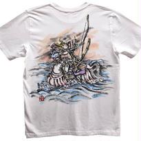 【手描きTシャツ】那須の与一 白 彩色 コットン生地