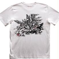 【手描きTシャツ】巴御前 白 コットン生地