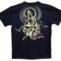【手描きTシャツ】弥勒菩薩 黒 綿生地