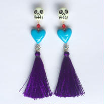 BLUE HEART PURPLE TASSEL ピアス