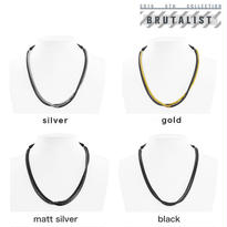 2TONE BLOCK CHAIN middle necklace