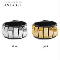 METAL plate leather bracelet