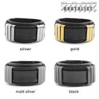 TRIPLICATE square ring leather bracelet