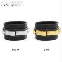 METAL plate line leather bracelet