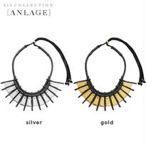 METAL plate leather necklace