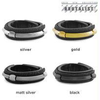 CHEVRON studs & metal tube leather bracelet