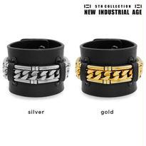 CHAIN & METAL TUBE leather bracelet
