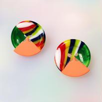 Button pierced earrings ボタンピアス/3トーン・マルチボーダー×マーブルグリーン×蛍光オレンジ