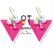 Jewelry kit アクセサリー制作キット/三角のビンテージビーズピアス(イヤリングに変更可)