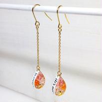 Metrocard pierced earrings メトロカードピアス/ドロップタイプ・ピーチピンク、オレンジ、ゴールド系