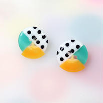 Button pierced earrings ボタンピアス/3トーン・水玉×ターコイズ×オレンジ