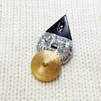 Button broach ボタンブローチ/黒三角×シルバーラメ×ゴールド