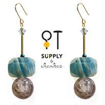 Jewelry kit アクセサリー制作キット/二種類の天然石ピアス(イヤリング変更可)