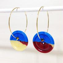Button pierced earrings ボタンピアス/フープ・2トーン・ブルー×赤茶&クリームイエロー