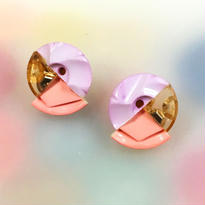 Button earrings ボタンピアス/3トーン・薄ピンク×金スパンコール×サーモンピンク