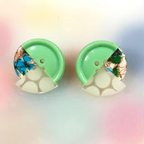 Button earrings ボタンピアス/3トーン・ミント×花柄×水玉