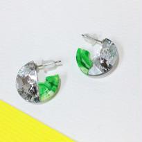 Button pierced earrings ボタンピアス/ 3/4・2トーン・シルバー×グリーンマーブル