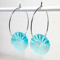 Button pierced earrings ボタンピアス/フープ・2トーン・スカイブルークリア×ミント