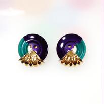 Button pierced earrings ボタンピアス/3トーン・パープル×グリーン×金花型