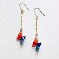 Metrocard pierced earrings メトロカードピアス/サンダータイプ・レッド、ブルー系×ゴールド