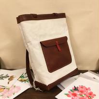 手縫いの帆布と革のリュック・トート(2way)セミオーダー