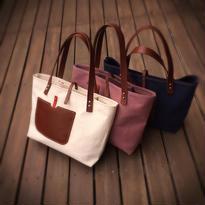 持ち手が革の大きめ帆布のトートバッグ(手縫い)