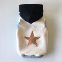 KNIT CAP 手刺繍STARパッチパーカー size: 3S, XXS, XS , S, (レトロアイボリー)style no.1610002IV