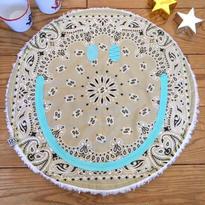 〔お名入れ〕ネオンSMILY ★ Café マット -USバンダナ✖️ふわもこプードルファーリバーシブル-(カフェ×ミルク)size: 50cm x 50cm  style no. 1611002C