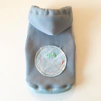 SURF SMILY 手刺繍デニムパッチパーカー size: 3S, XXS, XS , S, (レトロブルー)style no.1610001B