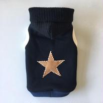 KNIT CAP 手刺繍STARパッチパーカー size: 3S, XXS, XS , S, (レトロブラック)style no.1610002BK