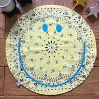 〔お名入れ〕ネオンSMILY ★ Café マット --USバンダナ✖️ふわふわデニム裏毛リバーシブル--(レモン)size: 50cm x 50cm  style no. 1609003L