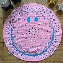 〔お名入れ〕ネオンSMILY ★ Café マット --USバンダナ✖️ふわふわデニム裏毛リバーシブル--(ペールピンク)size: 50cm x 50cm  style no. 1609003P