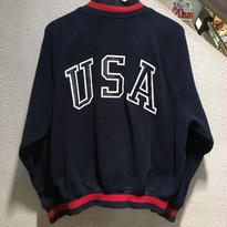 POLO SPORT / 90's Vintage Fleece Varsity Jacket size : M NVY