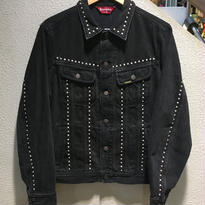 "SUPREME / Studded Denim Trucker Jacket size : M BLK ""2017S/S"""