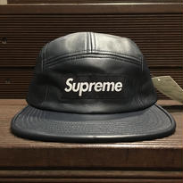 "SUPREME / Leather Camp Cap NVY ""2016A/W"""