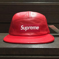 "SUPREME / Leather Camp Cap RED ""2016A/W"""