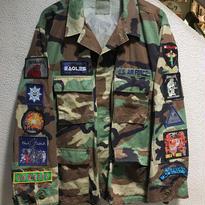 Vintage Band Patch Custom Militarry Jacket size : XL CAMO