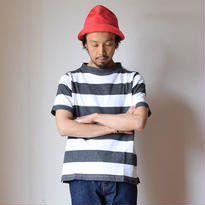 【RECOMMEND】nisica   GANSEY NECK CUTSEWN S/S WHT×GRY  ニシカ ガンジーネックカットソー半袖  ホワイト×グレー