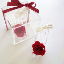 "message ROSE  ""TALe"" (RED) ♡メッセージ入り♡ガラスの靴のフラワーキューブ"